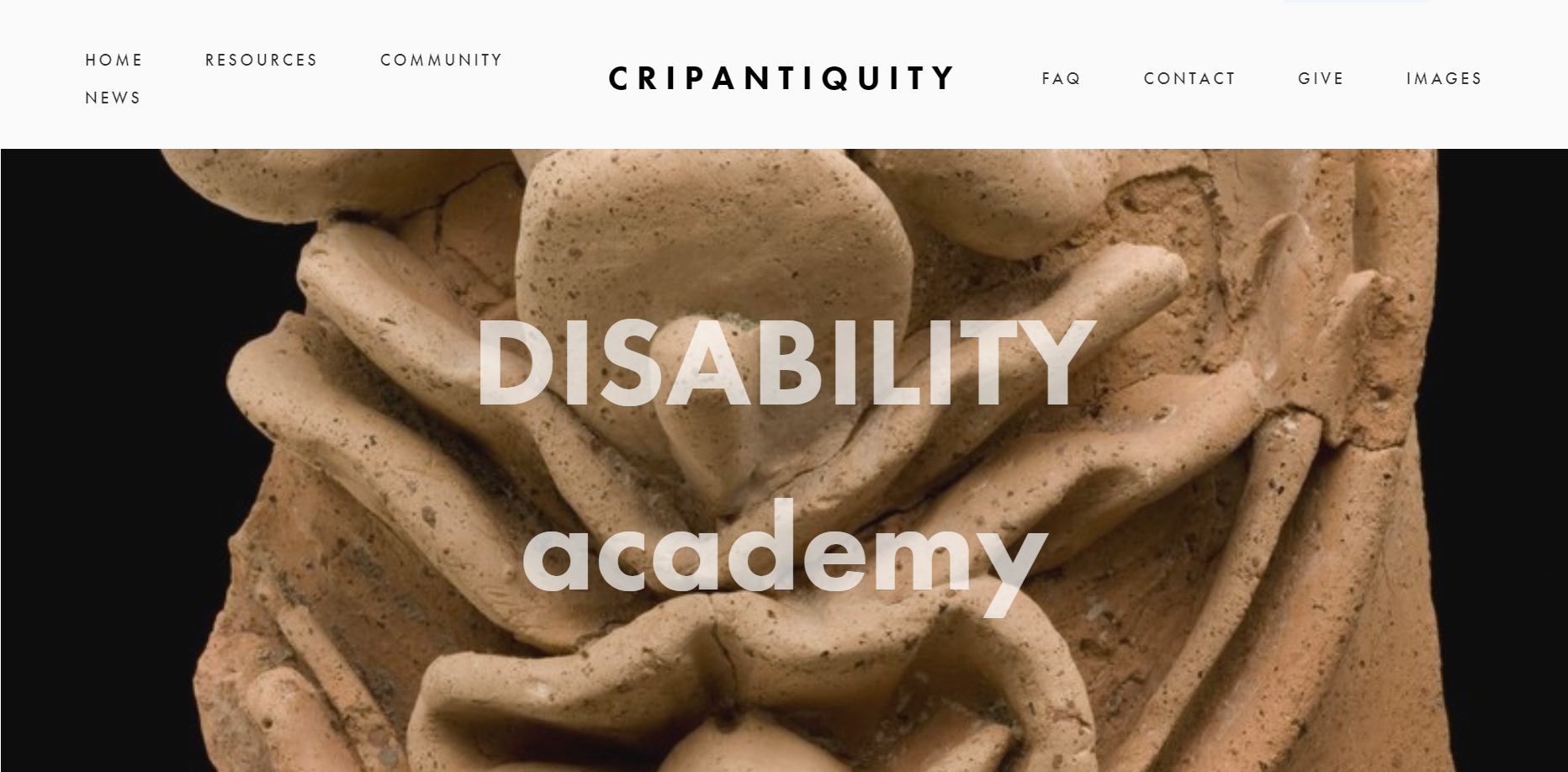 A screen capture of CripAntiquity's website landing page. Text: CRIPANTIQUITY, DISABILITY academy